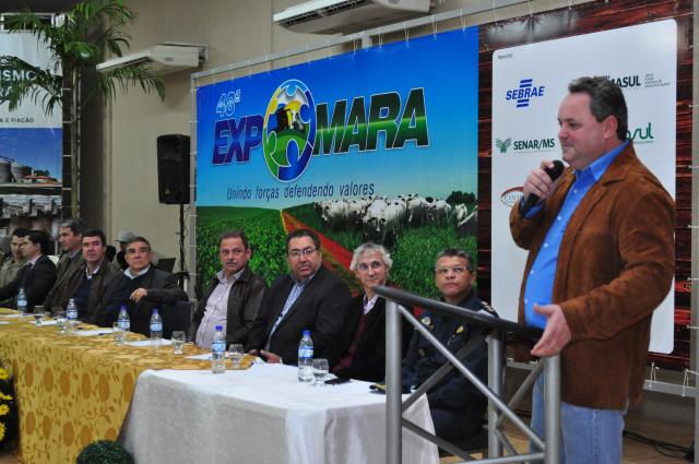 Presidente do Sindicato Rural de Maracaju Juliano Schmaedecke, durante a abertura oficial da 48ª Expomara. - Crédito: Foto: Divulgação
