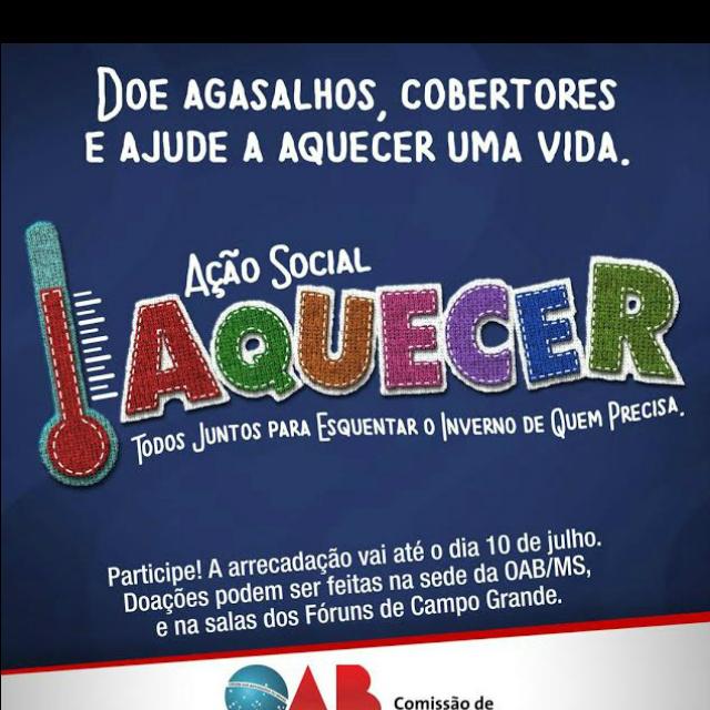 OAB/MS lança projeto Aquecer para angariar agasalhos -