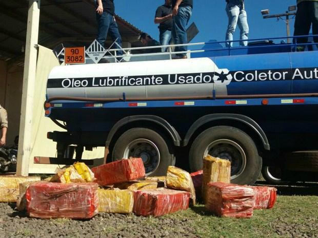 Caminhão de lubrificantes estava lotado de maconha - Crédito: Foto: Bruno Axelson/ TV Morena