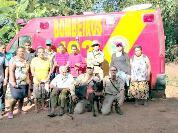 Idoso é encontrado após 20 horas de sumiço em matagal - Crédito: Foto: Divulgação / Corpo de Bombeiros