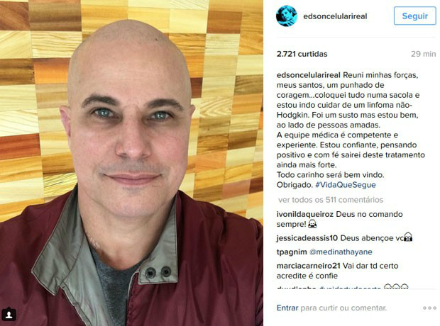 Edson Celulari é diagnosticado com câncer -