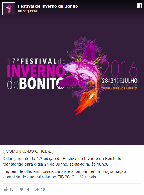 Programação do 17º Festival de Inverno de Bonito -
