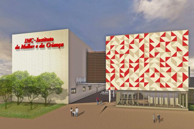 Maquete ilustrativa do futuro Hospital da Mulher e da Criança. - Crédito: Foto: Divulgação