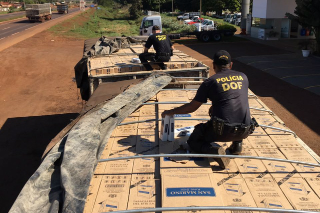 Ação mais recente do Departamento de Operações de Fronteira  apreendeu carga de cigarro em Dourados. - Crédito: Foto: Divulgação