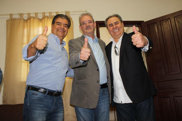Presidentes estaduais do PTB e do PSD anunciam apoio à pré-candidatura de Geraldo Resende em reunião realizada sábado. - Crédito: Foto: Divulgação