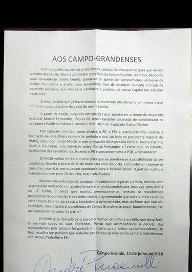 Carta de André Puccinelli -