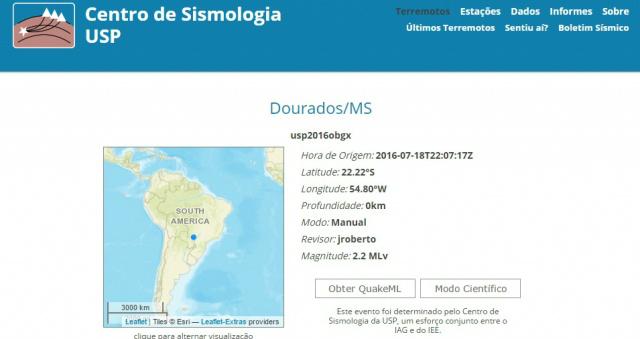 USP confirma tremor em Dourados Foto: reprodução -