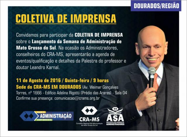 CRA-MS lança em Dourados a Semana de Administração 2016 -