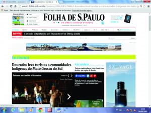 Folha de São Paulo destacou o turismo em Dourados, puxado pela Reserva Indígena, que reúne três etnias. - Crédito: Foto: Reprodução