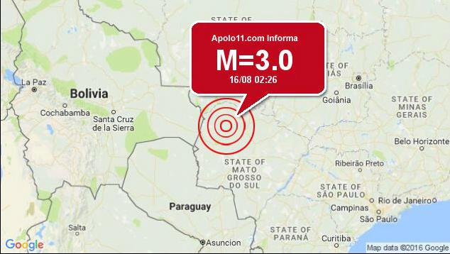 Terremoto de magnitude 3 é registrado em Mato Grosso do Sul -