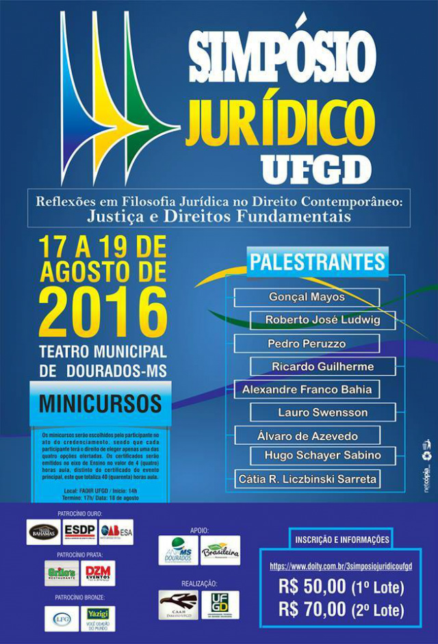 Simpósio Jurídico da UFGD começa hoje no Teatro Municipal -