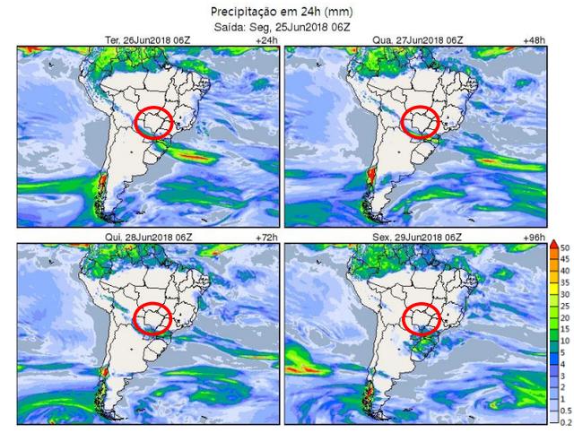 Mapas meteorológicos mostram a escassez de nuvens de chuva sobre MS - Crédito: Cemtec