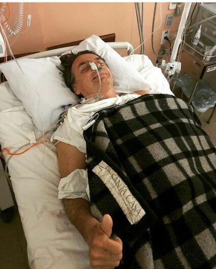 Divulgação de foto do candidato após a cirurgia foi feito por familiares - Crédito: Divulgação