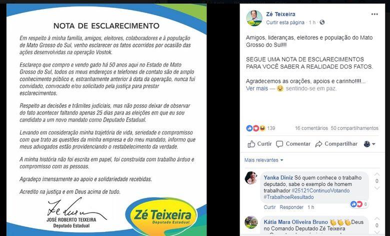 Nota publicada em rede social do candidato - Crédito: Divulgação