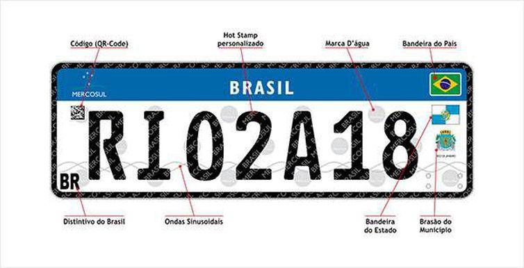 Placa para veículos com padrão Mercosul é lançada no Rio de Janeiro - Crédito: Divulgação Detran/RJ