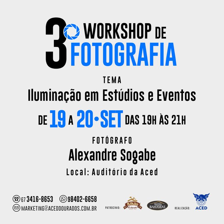 Iluminação em estúdio e eventosé tema de Workshop de Fotografia -