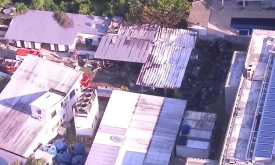 Local onde foi atingido pelo fogo que matou jovens e funcionionários do Flamengo - Crédito: Reprodução/TV Globo