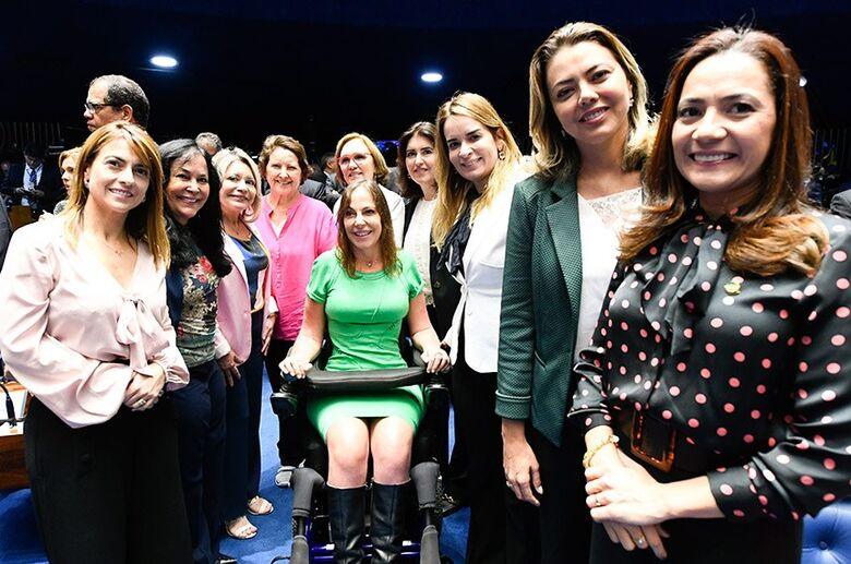 Douradense Soraya Thronicke (1ª à esq.) é uma das senadoras eleitas - Crédito: Marcos Oliveira/Agência Senado