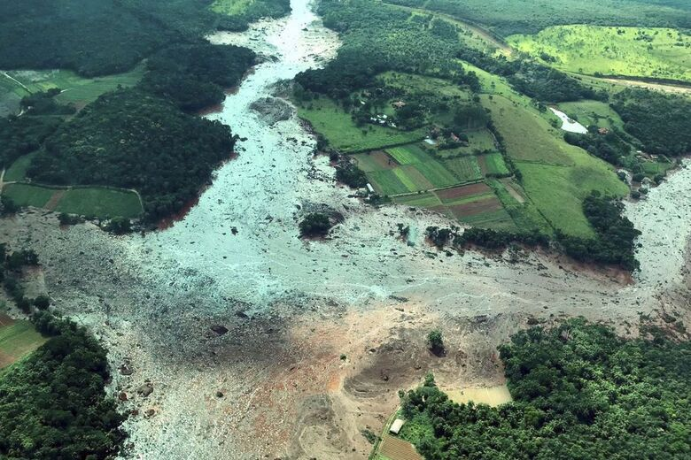 Área atingida pelo rompimento da barragem em Brumadinho - Crédito: Presidência da República/Divulgação