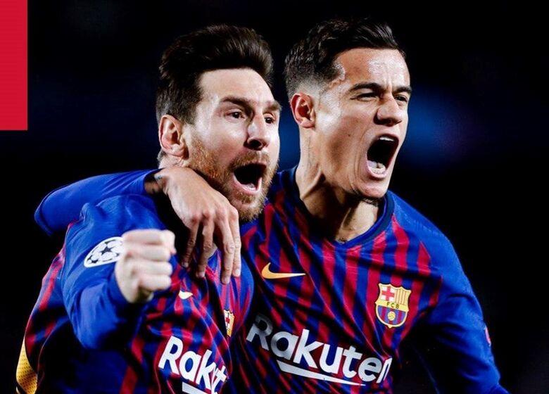 Messi e Coutinho marcaram para o Barcelona - Crédito: Divulgação/Barcelona/Facebook