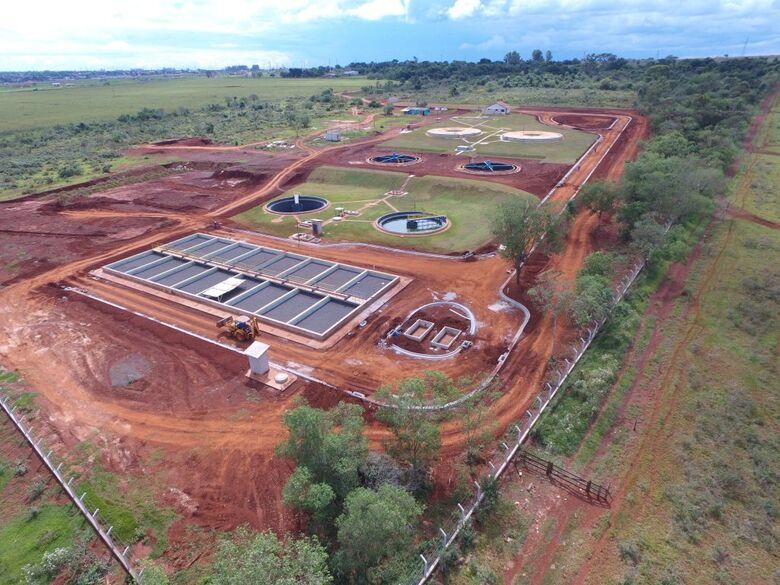 Construção da Estação de Tratamento de Esgoto Ipê, em Dourados - Crédito: Divulgação