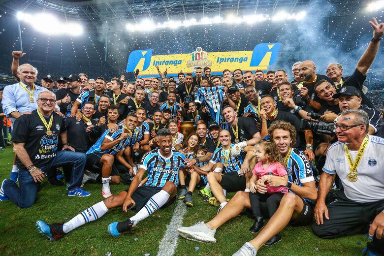 Grêmio comemorou o 38º título estadual - Crédito: Lucas Uebel | Grêmio FBPA