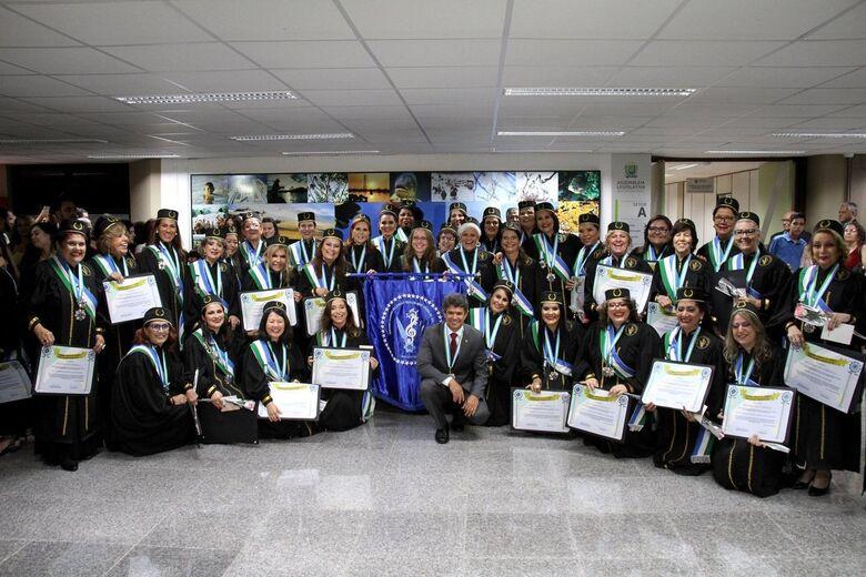 Acadêmicas da AFLAMS já empossadas - Crédito: Wagner Guimarães
