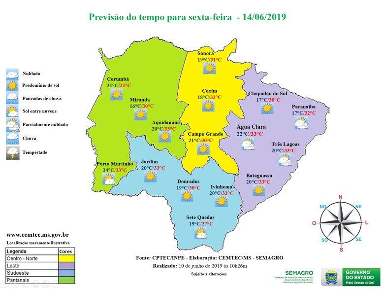 Previsão do tempo para todo Estado - Crédito: Divulgação