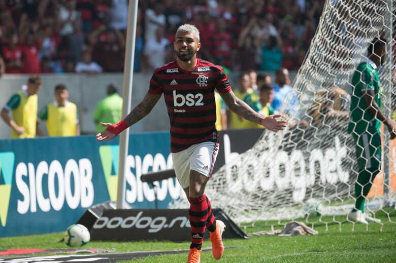 Gabigol marcou dois na vitória sobre o Goiás - Crédito: Alexandre Vidal / Flamengo