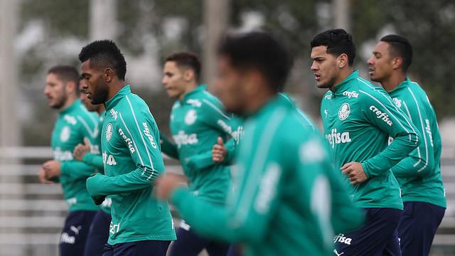Jogadores durante o treinamento de ontem - Crédito: Divulgação/Palmeiras