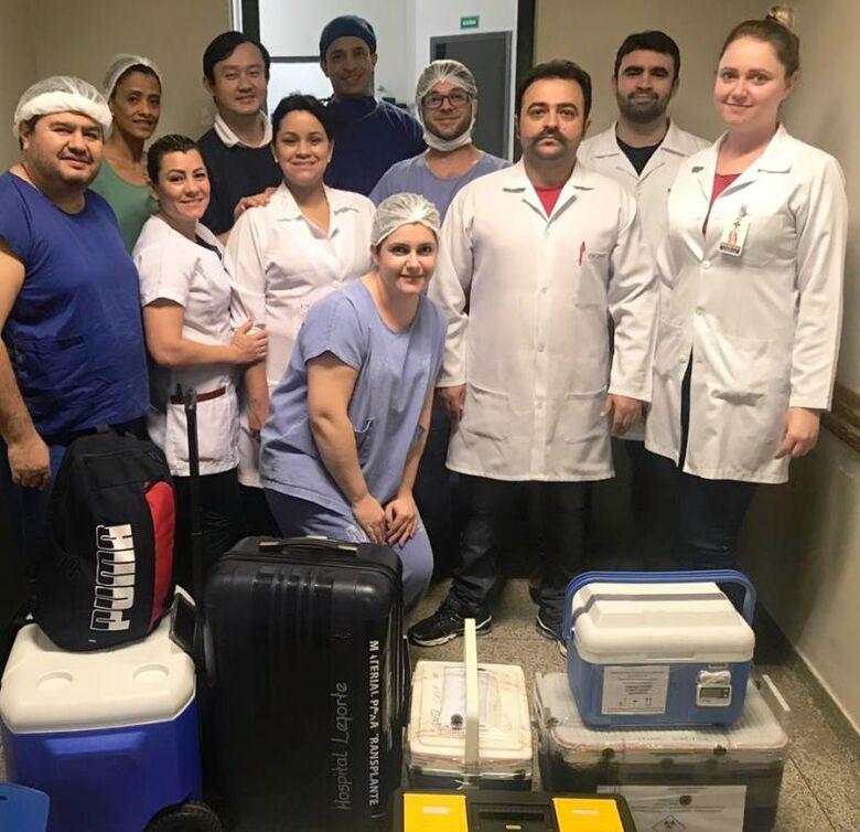 Equipe que atuou na captação de órgãos desta quarta-feira no Hospital da Vida - Crédito: Cihdott