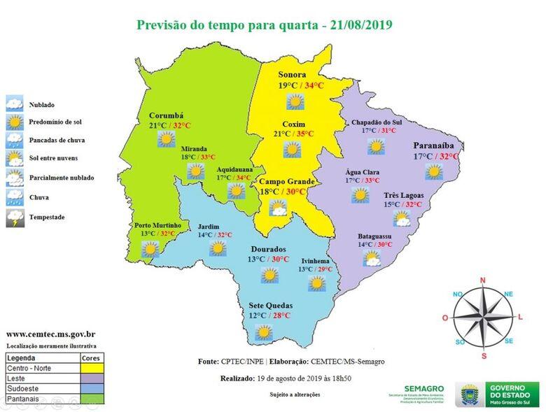 Quarta-feira será mais um dia quente e sem chuva em Mato Grosso do Sul - Crédito: Divulgação
