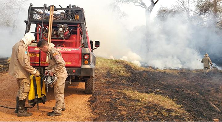 Brigadistas do Ibama e bombeiros combatem focos de calor na Fazenda Caiman, em Miranda - Crédito: Divulgação