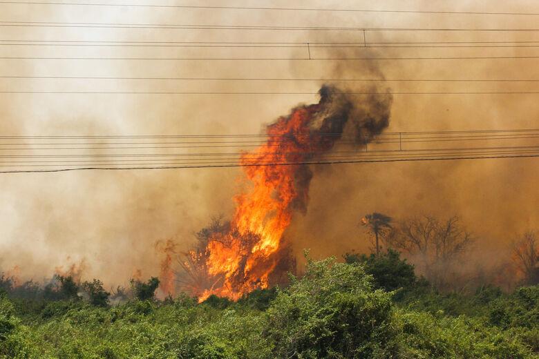 Fogo na região do Morro do Azeite exigiu intenso combate pelos bombeiros e brigadistas, além do apoio aéreo - Crédito: Divulgação