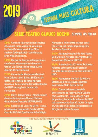 Teatro Glauce Rocha recebe apresentações do Festival Mais Cultura - Crédito: Divulgação