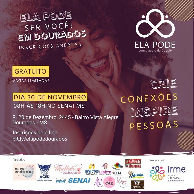 Capacitação gratuita para mulheres acontece este mês em Dourados - Crédito: Divulgação