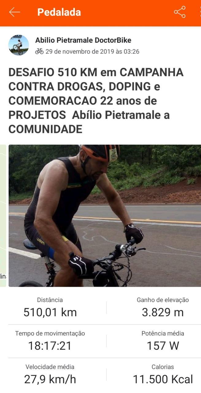 Douradense pedala 510 km com 18h17min -