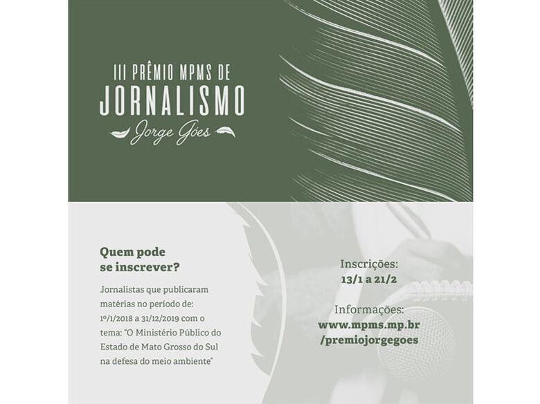 MPMS abre inscrições para o 3º Prêmio de Jornalismo Jorge Góes - Crédito: Divulgação