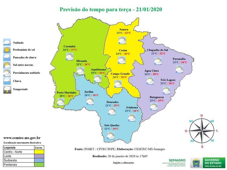 Meteorologia prevê dia nublado e calor de 38°C em Mato Grosso do Sul - Crédito: Governo MS