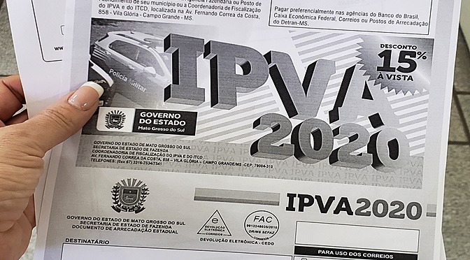 IPVA 2020: quem perdeu prazo em fevereiro ainda tem chance de se regularizar - Crédito: Divulgação
