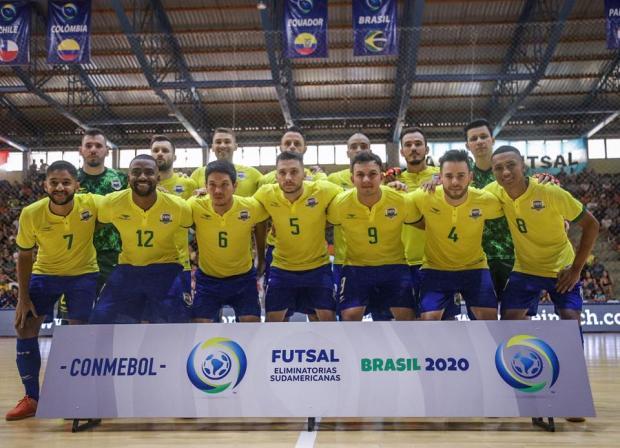 O Brasil goleou o Equador por 11 a 0 nesta quarta (5) pela quarta rodada da fase de grupos das Eliminatórias da Copa do Mundo de futsal - Crédito: Yuri Gomes / CBFS / Divulgação / CBFS / Divulgação