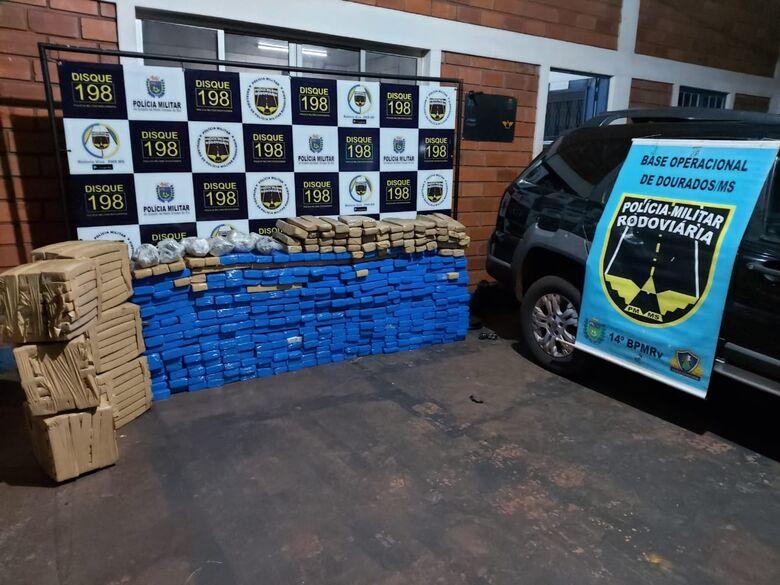 Polícia Militar Rodoviária apreende mais de meia tonelada de drogas em Dourados - Crédito: Divulgação