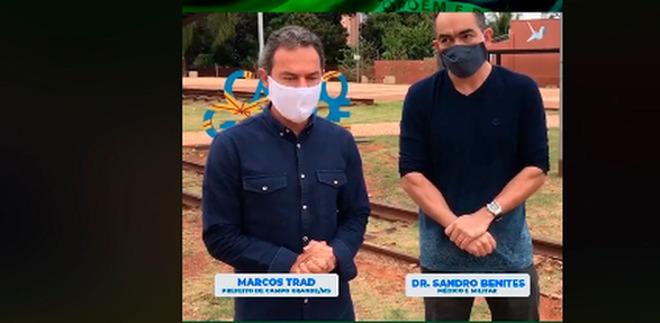 Prefeito de Campo Grande pede hidroxicloroquina a Bolsonaro - Crédito: Reprodução