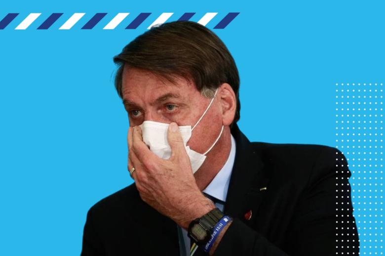Montagem com Jair Bolsonaro usando máscara durante a pandemia do coronavírus -