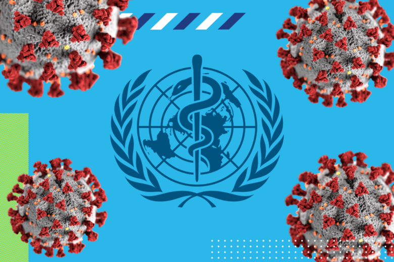 Montagem com o logo da OMS e coronavírus -