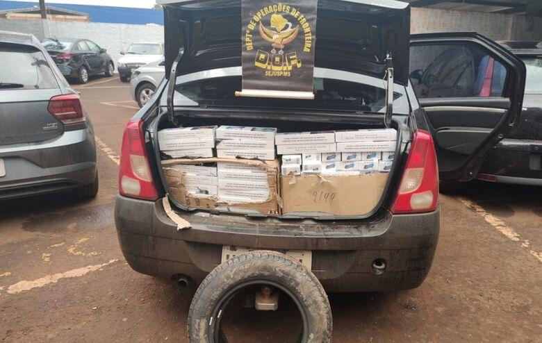 Veículo com cigarros contrabandeados do Paraguai é apreendido pelo DOF - Crédito: Divulgação