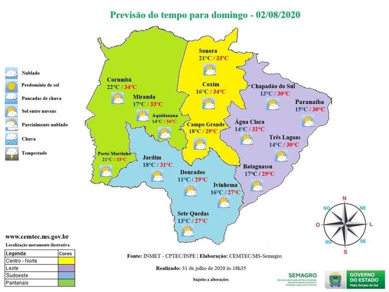 Sol predomina deixando o domingo quente e seco em Mato Grosso do Sul -