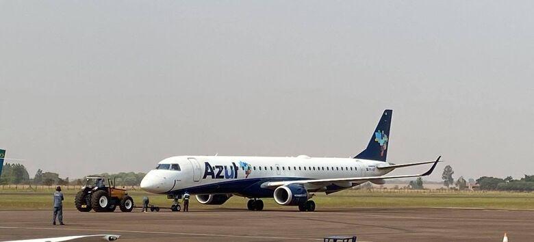 Azul começa a operar em Dourados com avião com capacidade para quase o dobro de passageiros - Crédito: Aviação regional de Dourados