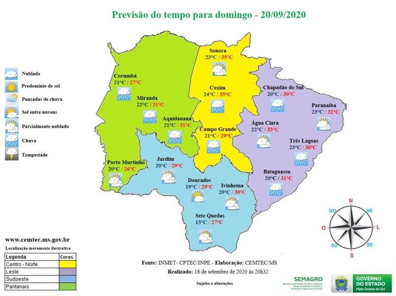 Último domingo de inverno terá pancadas de chuva em Mato Grosso do Sul -