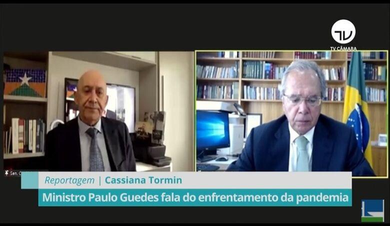 Sem vacina, economia seguirá ameaçada e vulnerável, avalia Paulo Guedes - Crédito: Reprodução TV Câmara
